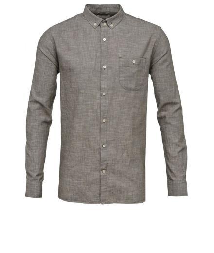 Knowledge Cotton Apparel Cotton/Linen Shirt feather gray | XL