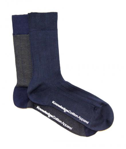 Knowledge Cotton Apparel Fine Zig Zag Sock 2pack Forrest Night | 38-42