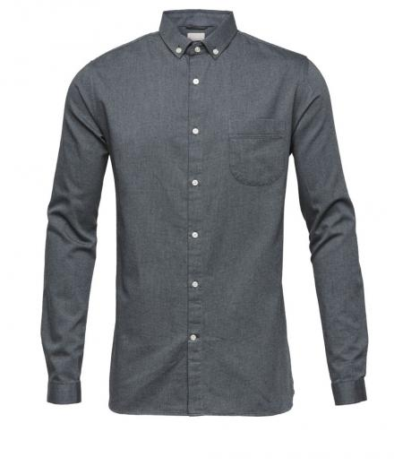 Knowledge Cotton Apparel Indigo Look Zig Zag Shirt-GOTS