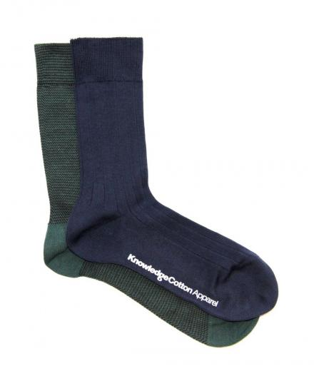 Knowledge Cotton Apparel Narrow Striped Sock 2pack greengables | 38-42