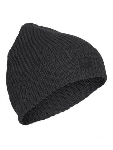 Knowledge Cotton Apparel Leaf Ribbing Hat Dark grey melange