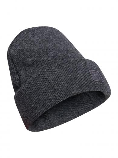 Knowledge Cotton Apparel Leaf Organic Wool Beanie Dark Grey Melange
