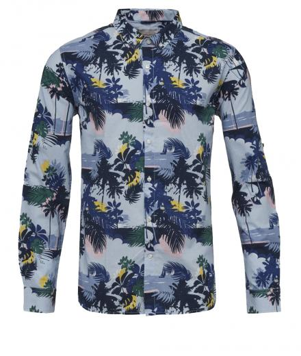 Knowledge Cotton Apparel Palm Sea Printed Shirt Skyway | L