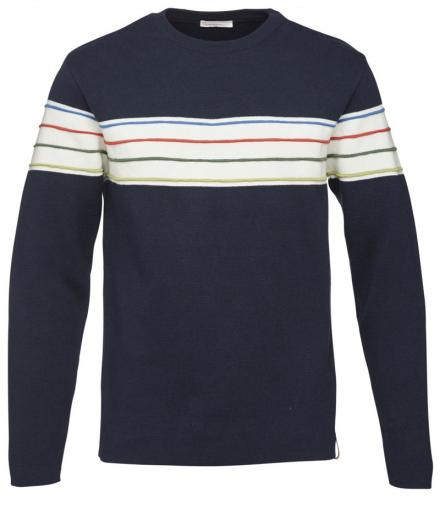 Knowledge Cotton Apparel Round Neck Knit W/Contrast Stripes Total Eclipse | S