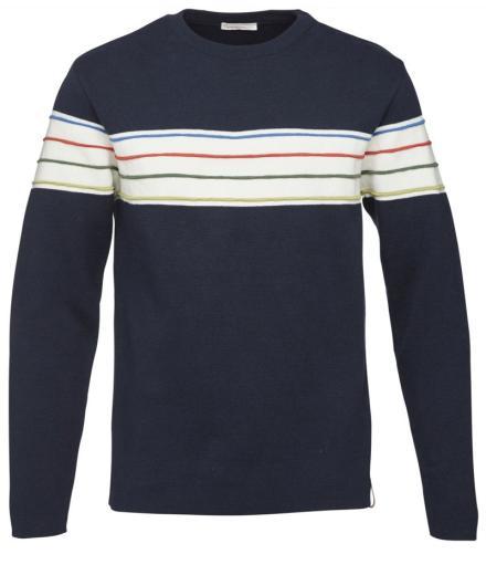 Knowledge Cotton Apparel Round Neck Knit W/Contrast Stripes Total Eclipse | XL