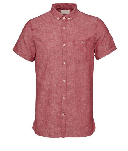Knowledge Cotton Apparel Short Sleeved Cotton/Linen Shirt