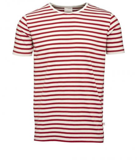 Knowledge Cotton Apparel Single Jersey Yarndyed Striped T-Shirt high risk red | L