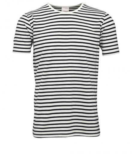 Knowledge Cotton Apparel Single Jersey Yarndyed Striped T-Shirt Total Eclipse | L