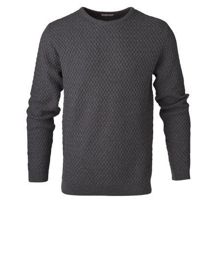 Knowledge Cotton Apparel Small Diamond Knit Dark Grey Melange | S