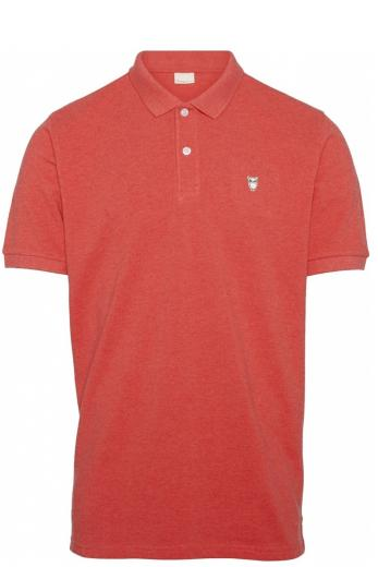 Knowledge Cotton Apparel ROWAN basic polo Scarlet melange