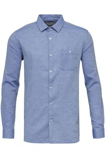 Knowledge Cotton Apparel LARCH LS linen shirt Strong Blue
