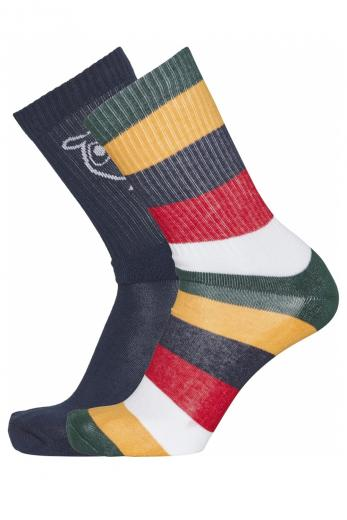 Knowledge Cotton Apparel LINDEN block striped 2 pack sock pineneedle | 38-42
