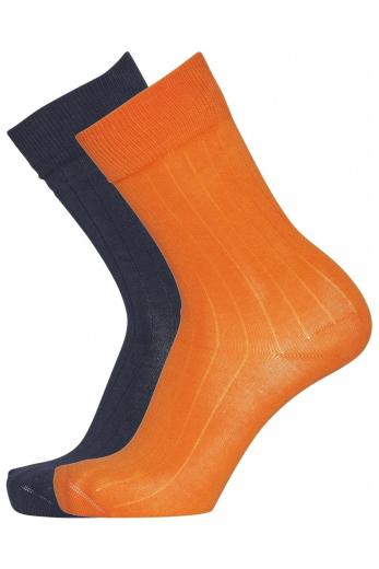 Knowledge Cotton Apparel TIMBER 2 pack classic socks orange popside