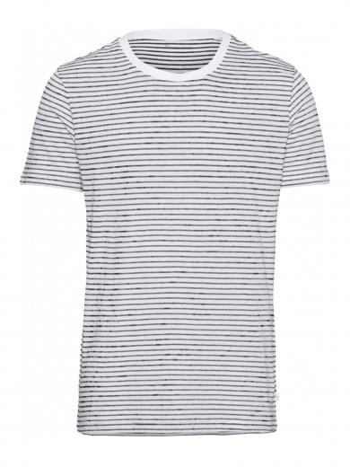 Knowledge Cotton Apparel ALDER striped tee bright white