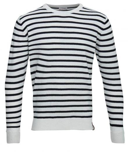 Knowledge Cotton Apparel Striped Wool Knit Star White