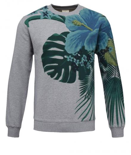 Knowledge Cotton Apparel Sweat Giant Flower Print grey melange | XL