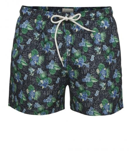 Knowledge Cotton Apparel Swim shorts with all over print - GRS
