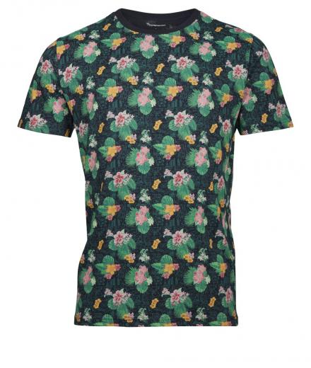 Knowledge Cotton Apparel T-Shirt with all over flower print 1216 | L