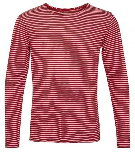 Knowledge Cotton Apparel Yarndyed Striped Indigo Long Sleeve T-Shirt