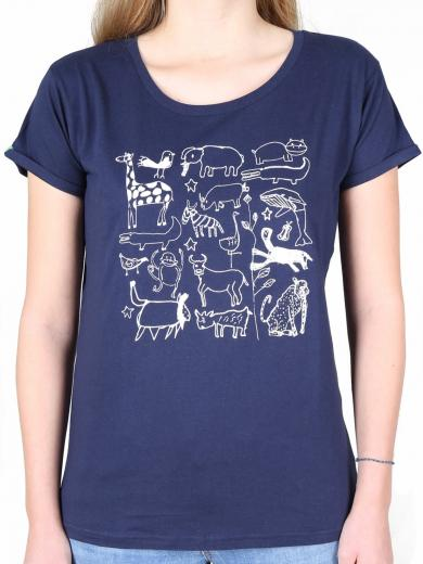 KIPEPEO CLOTHING Damen T-Shirt Serengeti Navy navy