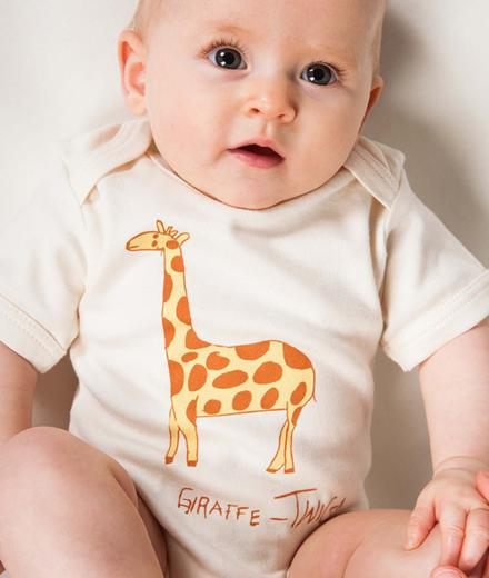 Kipepeo Clothing Baby Body Kurz Giraffe natural | 3-6M