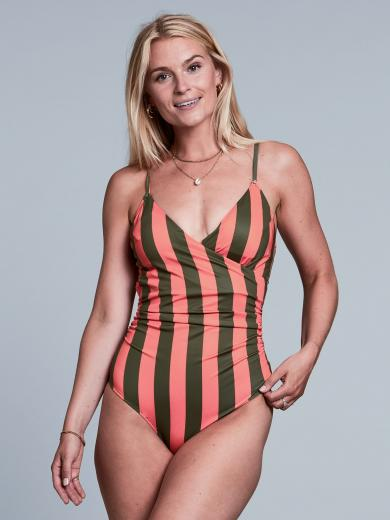 DEDICATED Wrap Swimsuit Klinte grün orange