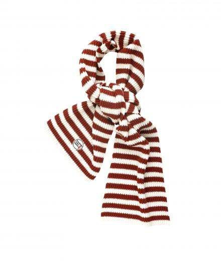 Knowledge Cotton Apparel Jaquard Knit Scarf winter white