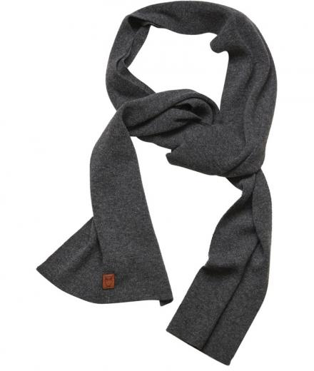 Knowledge Cotton Apparel Scarf organic wool Dark Grey Melange | onesize