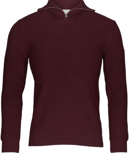 Knowledge Cotton Apparel Zip Neck Rib Knit