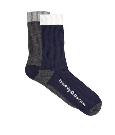 Knowledge Cotton Apparel Tennis Socks 2pack Total Eclipse Solid