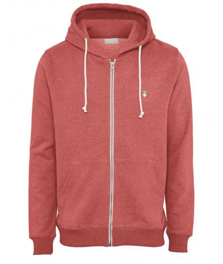 Knowledge Cotton Apparel Basic Hood Sweat Coral Melange | L