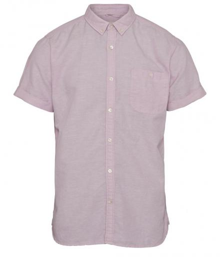 Knowledge Cotton Apparel Cotton Linen Short Sleeved Shirt Pink Nectar | L