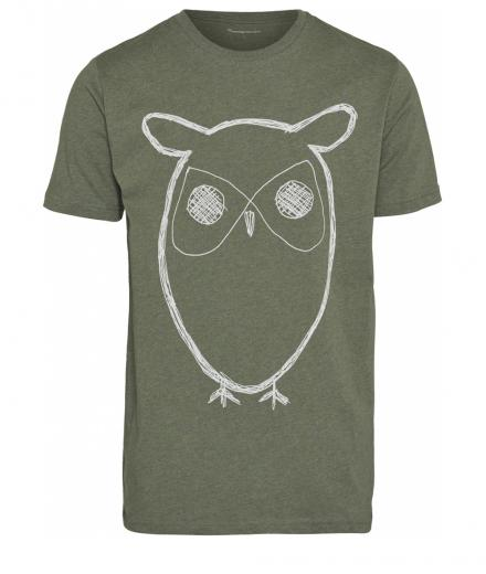 Knowledge Cotton Apparel Single Jersey with Owl Print Green Melange | L