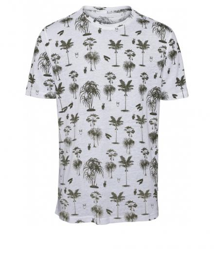 Knowledge Cotton Apparel T-Shirt with Palm Print GOTS