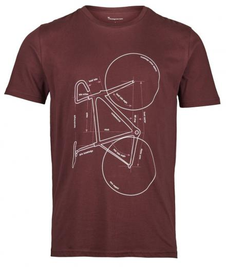 Knowledge Cotton Apparel T-shirt with printed bike decadent chokolade | L