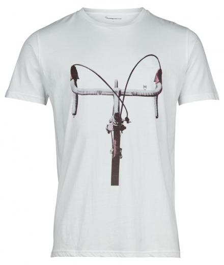 Knowledge Cotton Apparel T-shirt with printed handlebars