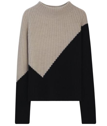 LANIUS Colourblock Pullover creammelangeblack | 38