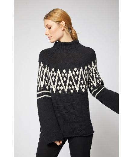 LANIUS Jacquard-Pullover GOTS black / off white | 36