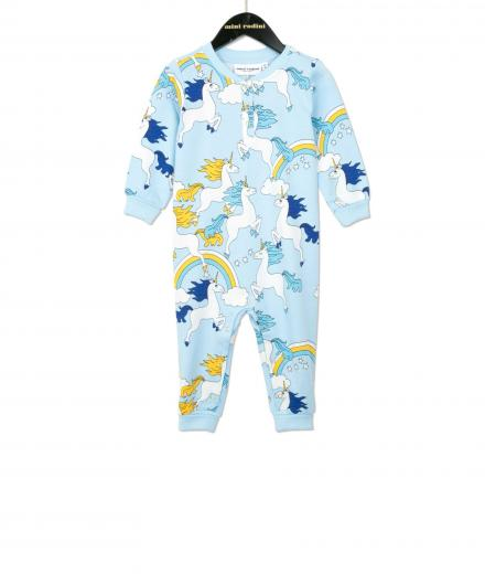 Mini Rodini Unicorn AOP Onesie Blue
