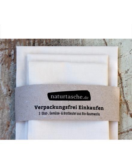 naturtasche.de 3er Set Obst-, Gemüse- & Brotbeutel
