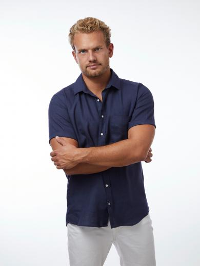 CARPASUS Shirt Linen Short Sleeve Single Colour Navy