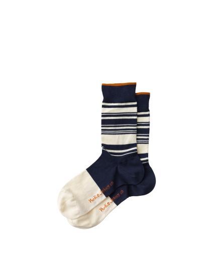 Nudie Jeans Olsson Stripes Socks Blue