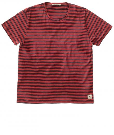 Nudie Jeans Anders Double Stripe aurora red | M