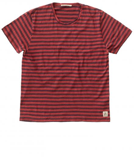 Nudie Jeans Anders Double Stripe aurora red | L
