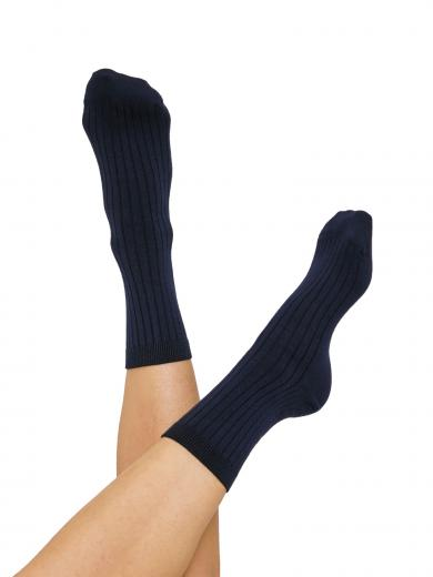 Organic Basics Rib Socks 2-pack Navy