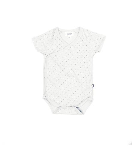 Oeuf Kimono Onesie White/Indigo Dots 3M