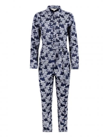 People Tree Anisa Fennel Print Jumpsuit blue