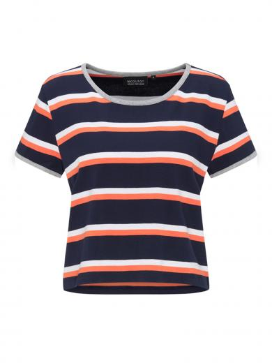 recolution Heavy Boxy T-Shirt #STRIPES navy/coral/white