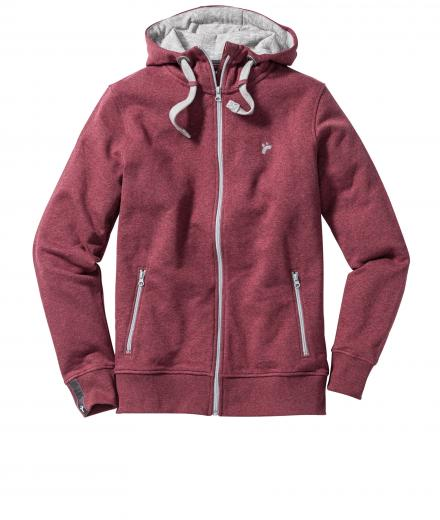 recolution Männer Zipper Classic dark red melange | L