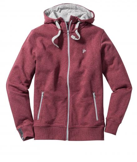 recolution Männer Zipper Classic dark red melange | S